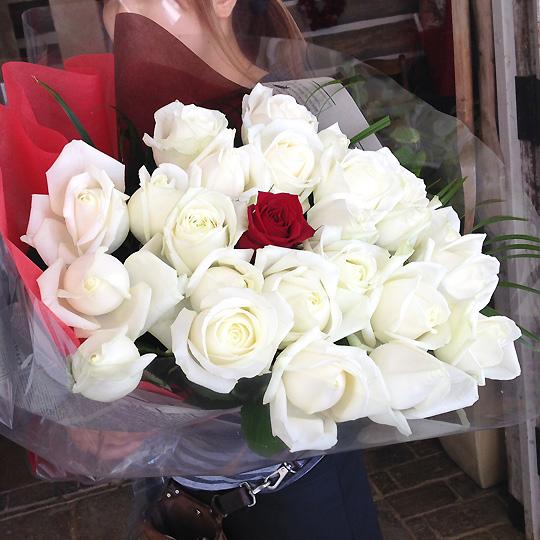 花束,バラ,ホワイト
