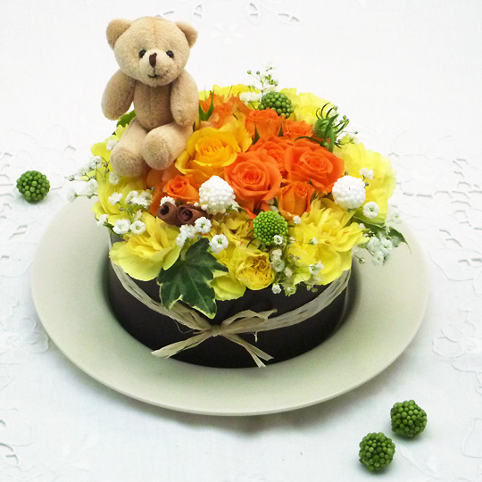 フラワーケーキ,生花,オレンジ