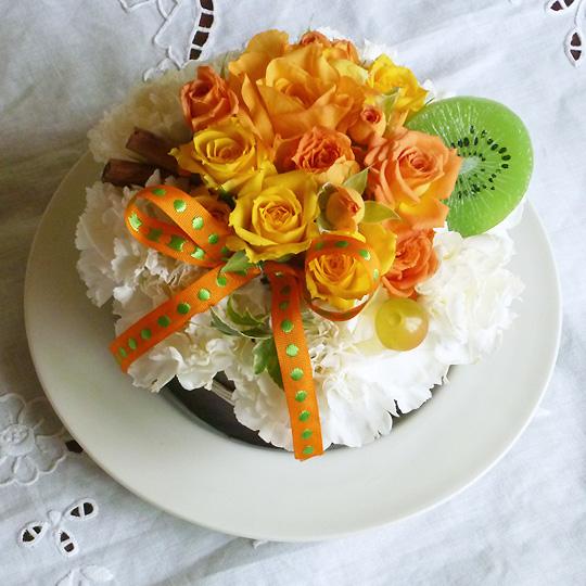 フラワーケーキ,生花,マーマレード