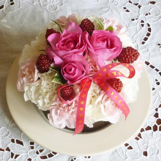 フラワーケーキ,生花,ピンク