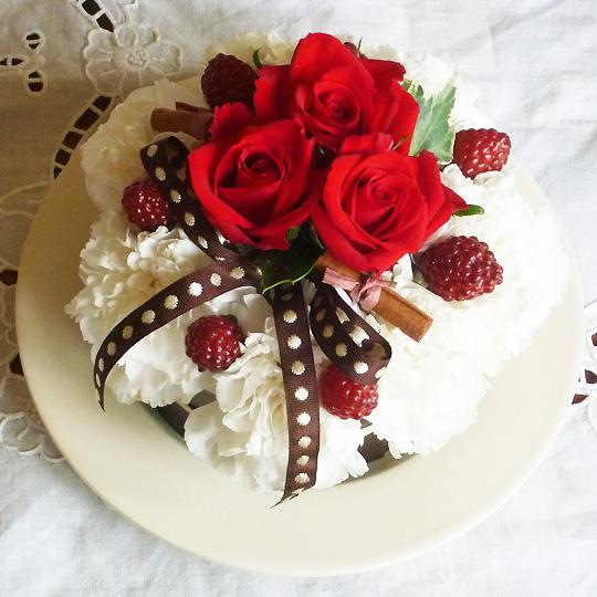 フラワーケーキ,生花,レッド