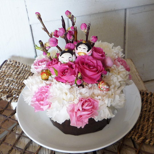 フラワーケーキ,生花,雛祭り