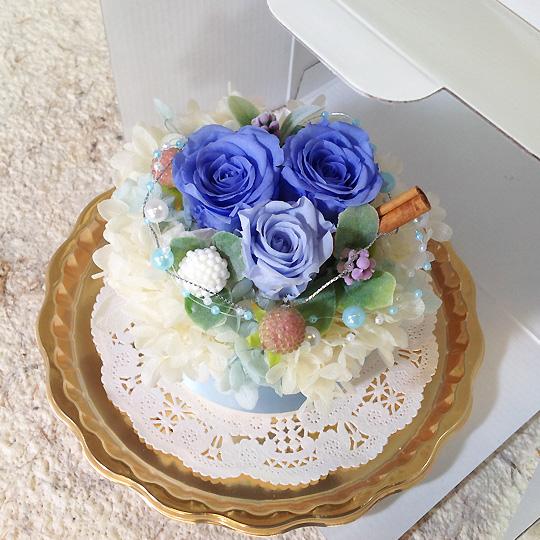 プリザーブドフラワー,フラワーケーキ,ブルー