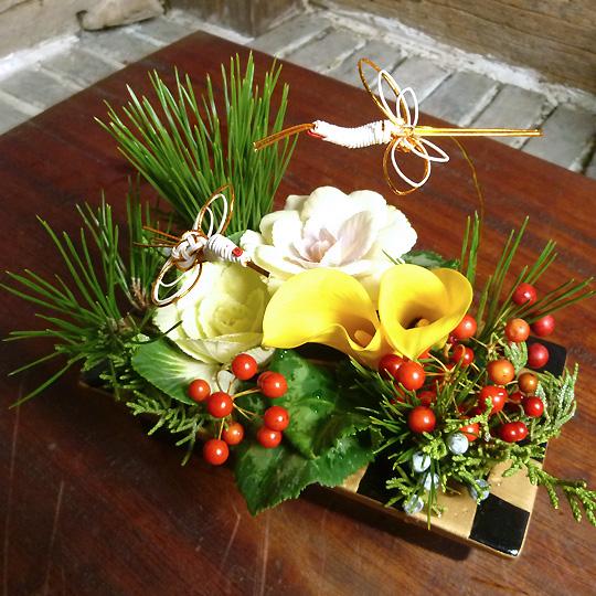 鶴,お正月,年賀,升型アレンジメント
